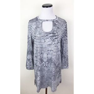 Suzanne Betro Weekend Striped Keyhole Tunic Top